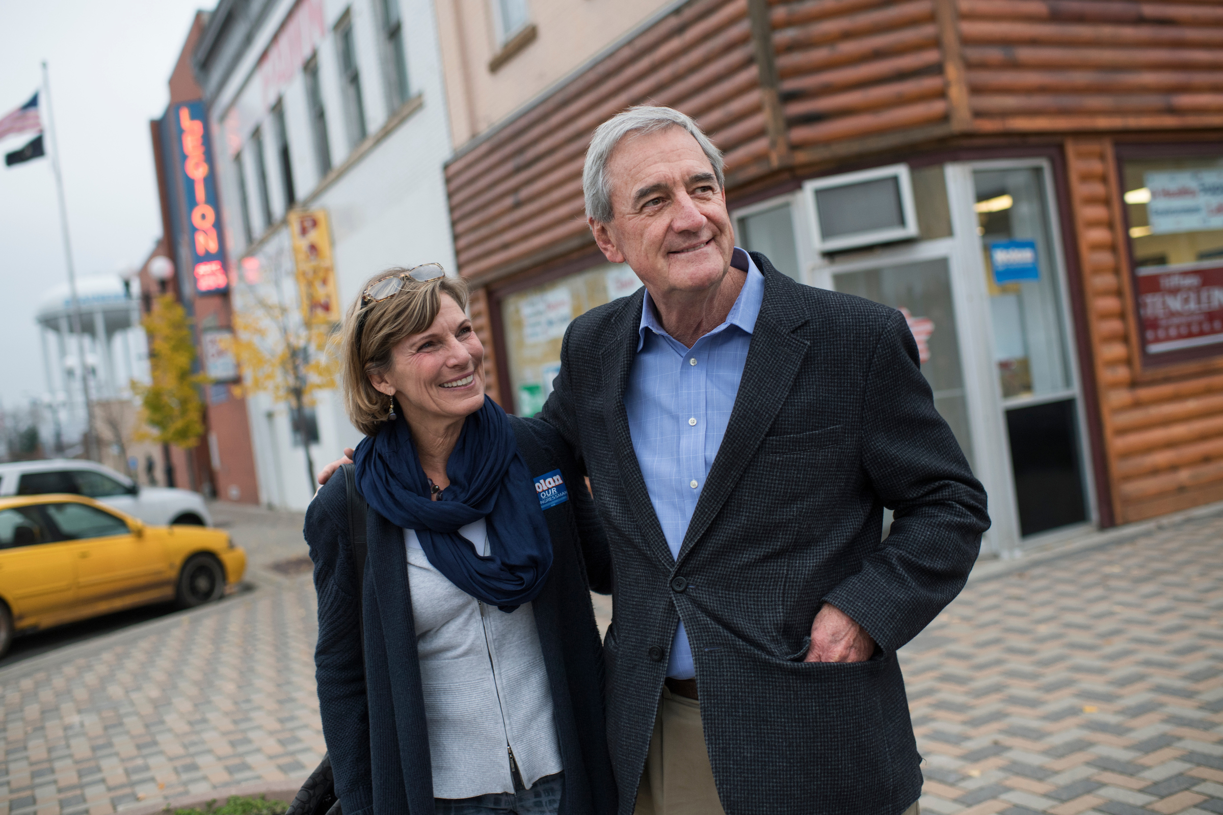 Nolan and his wife Mary leave his campaign office in Brainerd, Minn., on their way to his annual fish fry on Oct. 27. (Tom Williams/CQ Roll Call)