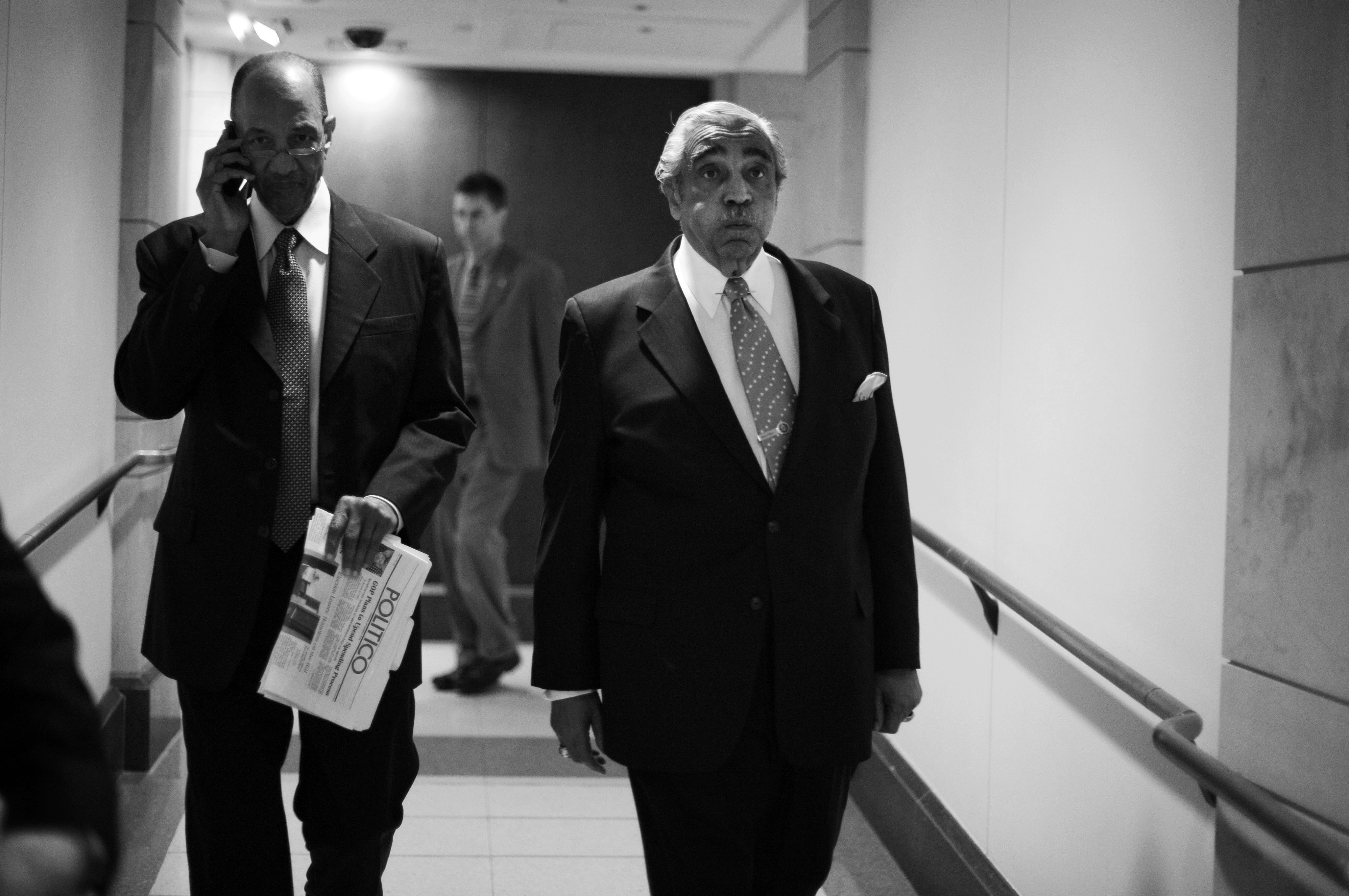 Rangel makes his way to a news conference in the Capitol Visitor Center after he was censured on the House floor for ethics violations in December 2010. (Tom Williams/CQ Roll Call File Photo)