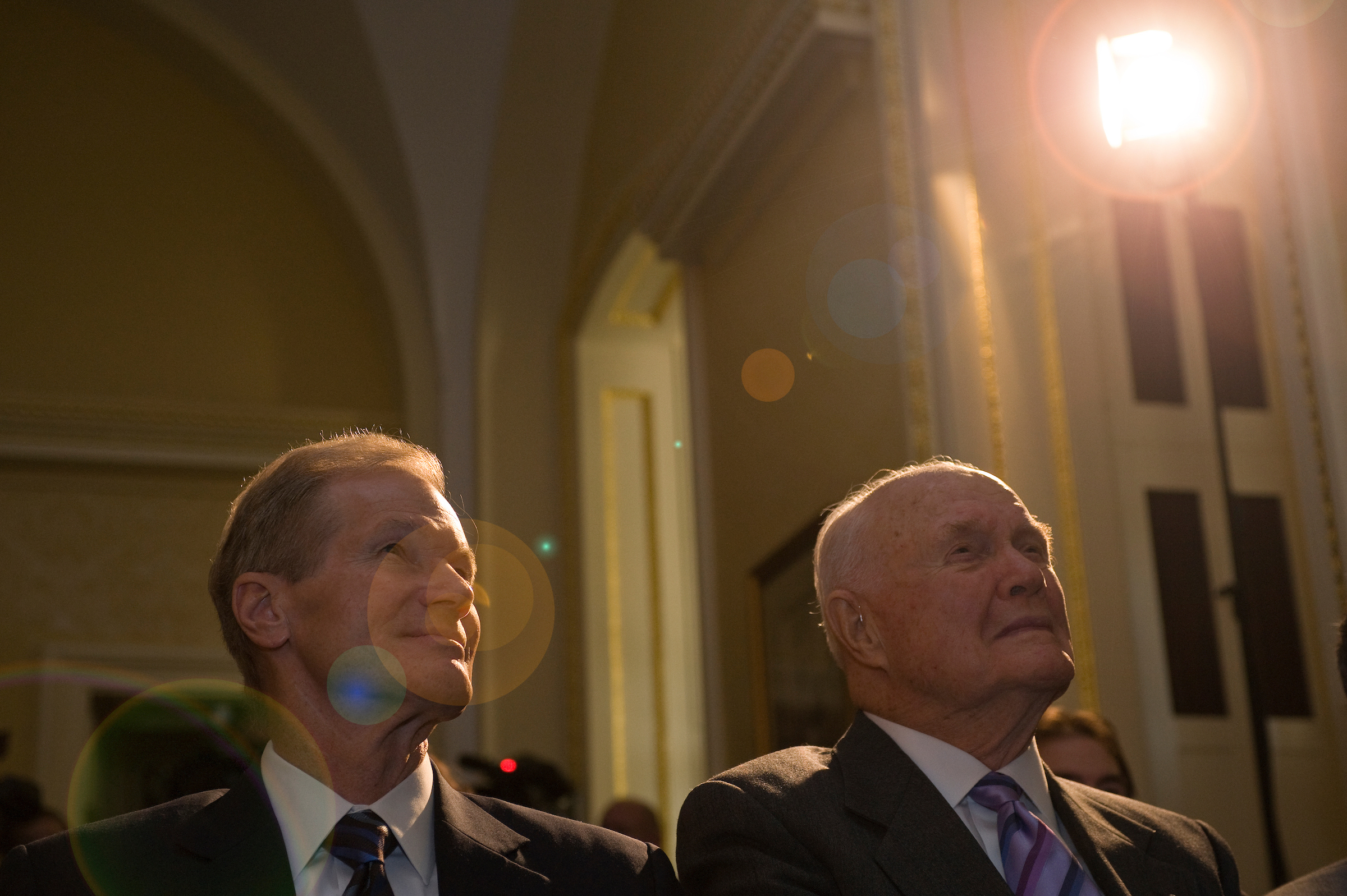 May 6, 2008: Sen. Bill Nelson, D-Fla., and former Sen. John Glenn, D-Ohio, during a press conference with Discovery Communications Founder and Chairman John Hendricks' for the official presentation of over 100 hours of newly HD transferred NASA archives to NASA's Administrator Michael Griffin. (CQ Roll Call File Photo)