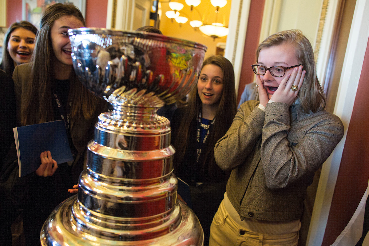 "7. March 2: Rose Harper, a student from Downers Grove North High School in Downers Grove, Ill., right, stands in disbelief as she sees the Stanley Cup up close alongside her friend, Audrey McDaniel, second from right, in the office of Illinois Sen. <a class=""memberLink"" title=""Click to view member info in a new window"" href=""http://data.rollcall.com/members/176?rel=memberLink"" target=""_blank"">Richard J. Durbin</a> on Capitol Hill. Durbin's office displayed the trophy after the Chicago Blackhawks won the 2015 Stanley Cup. (Al Drago/CQ Roll Call file photo)"
