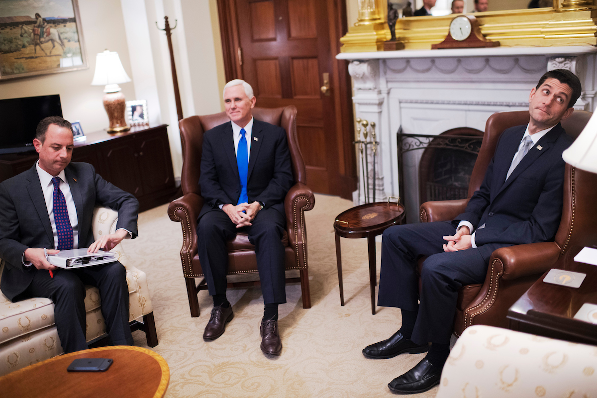 "31. Nov. 30: From left, Reince Priebus, incoming White House chief of staff, Vice President-elect <a class=""memberLink"" title=""Click to view member info in a new window"" href=""http://data.rollcall.com/members/7522?rel=memberLink"" target=""_blank"">Mike Pence</a>, and House Speaker <a class=""memberLink"" title=""Click to view member info in a new window"" href=""http://data.rollcall.com/members/523?rel=memberLink"" target=""_blank"">Paul D. Ryan</a> conduct a photo-op with the media before a meeting in the Capitol. (Tom Williams/CQ Roll Call file photo)"