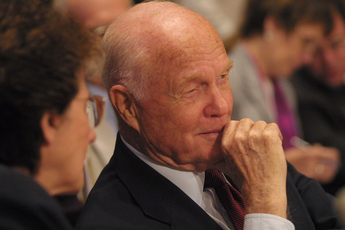 June 19, 2002: Former Sen. John Glenn, D-Ohio, testifying at Senate a committee hearing on the need for more support for the National Science Foundation. (CQ Roll Call File Photo)