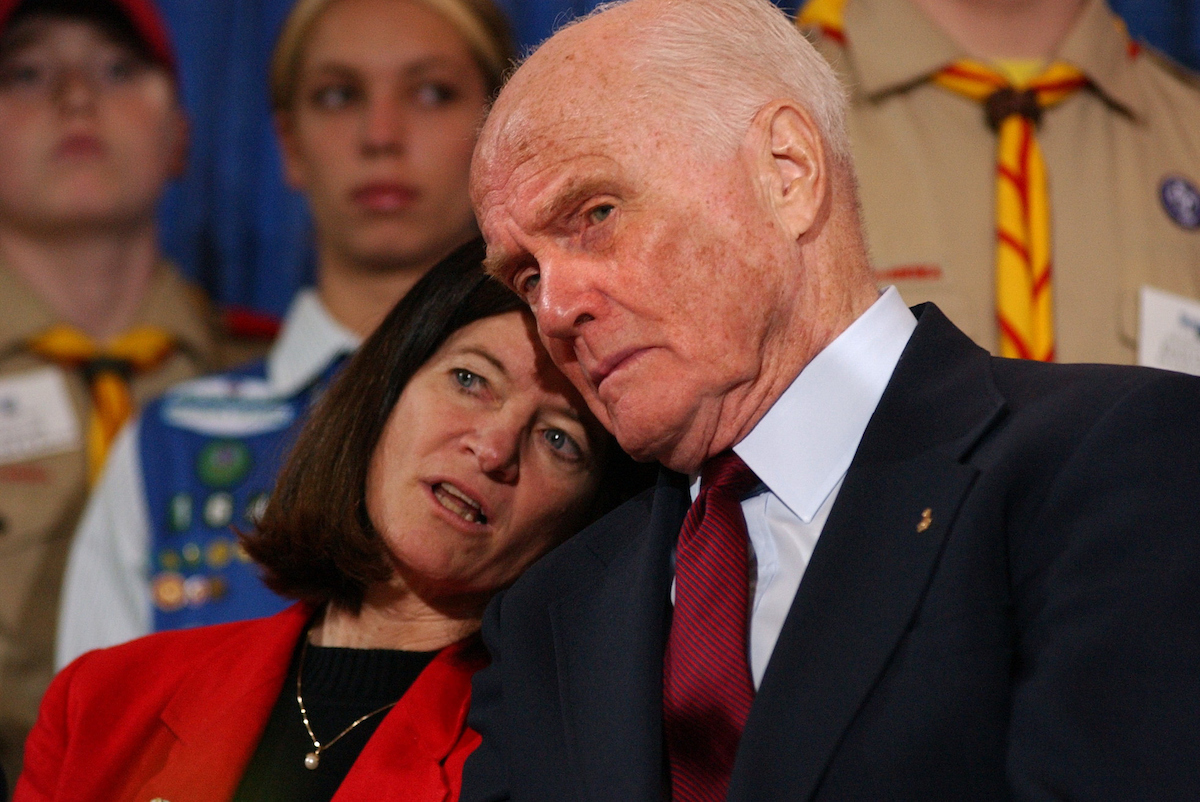 May 2, 2002: First female astronaut Sally Ride and former Sen. John Glenn, D-Ohio, share a word during Space Day at the Smithsonian's National Air and Space Museum. Space Day is the award-winning educational initiative designed to inspire young people's interest in science, math, and technology through the wonders space. (CQ Roll Call File Photo)