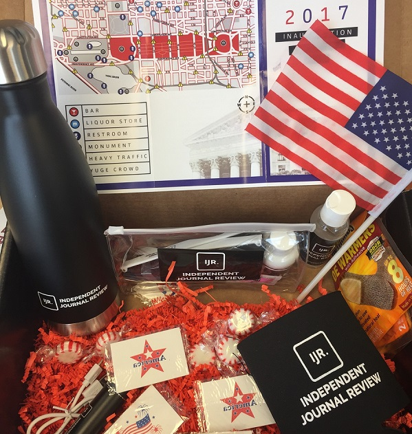 "The Independent Journal Review inauguration ""survival kit."" (Alex Gangitano/ CQ Roll Call)"