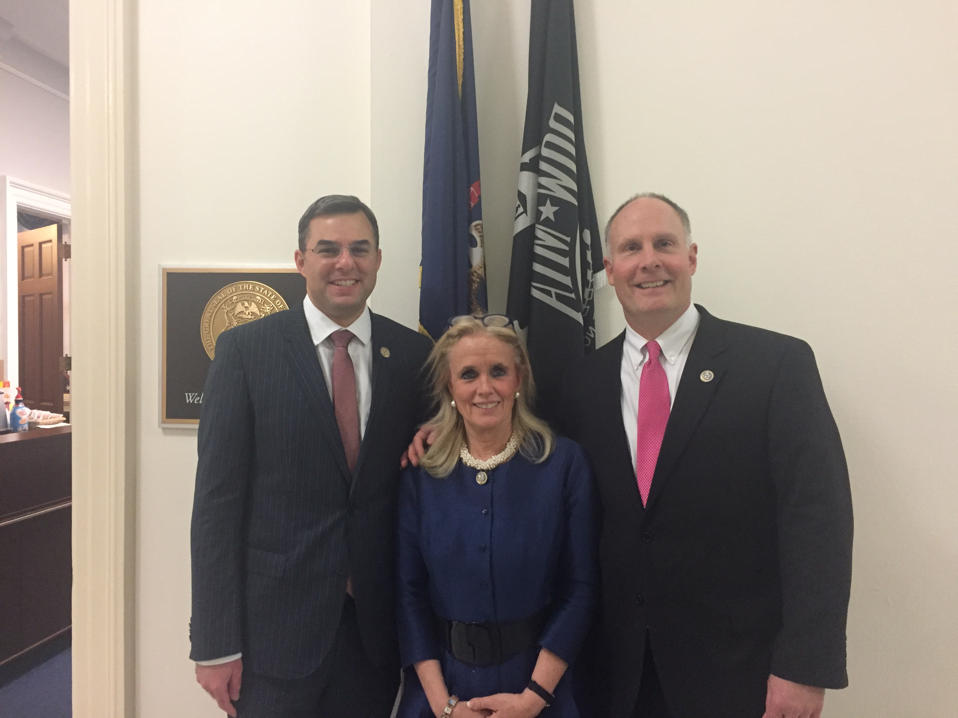 From left to right: Justin Amaash, Debbie Dingell, at the Michigan open house. (Photo courtesy of Dingell's office)