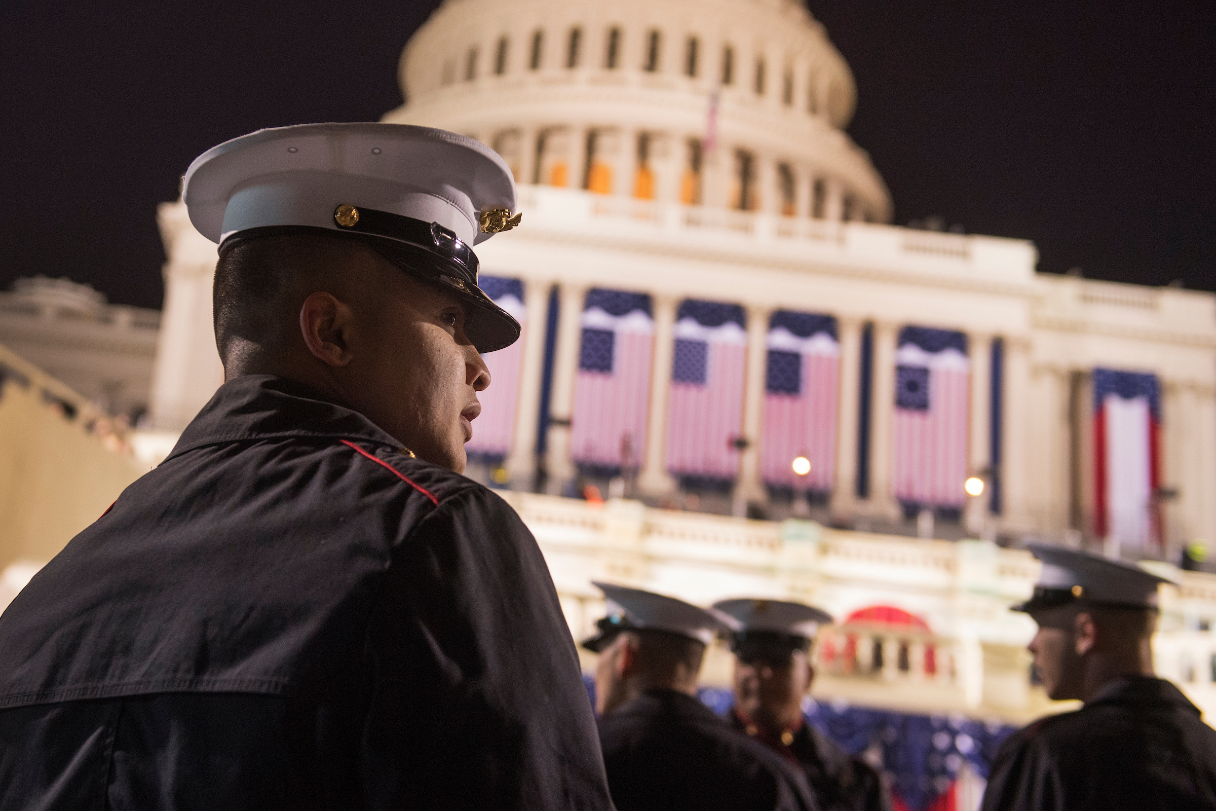 UNITED STATES - JANUARY 20: Members of Marine Barracks Washington gather on the West Front of the Capitol on Inauguration Day before Donald J. Trump was sworn in as the 45th President of the United States, January 20, 2017. (Photo By Tom Williams/CQ Roll Call)