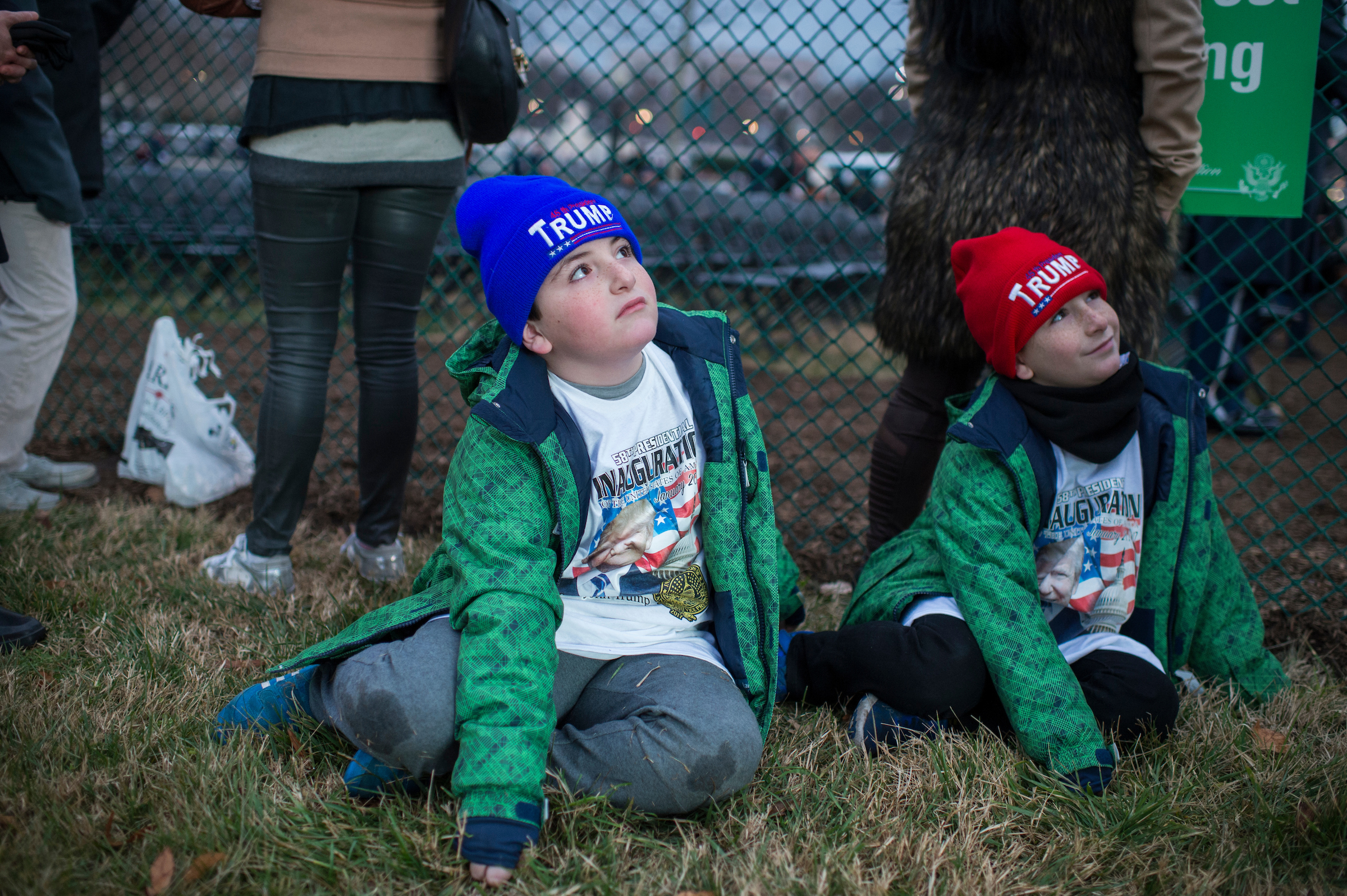 Elias Fineman, 7, left, and his brother Alexander, 9, from Las Vegas, wait on the West Front of the Capitol on Inauguration Day. (Tom Williams/CQ Roll Call)