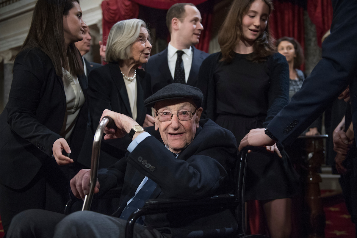 Abe Schumer, father of Senate Minority Leader Charles E. Schumer, attends his son's mock swearing-in ceremony on Tuesday. (Tom Williams/CQ Roll Call)