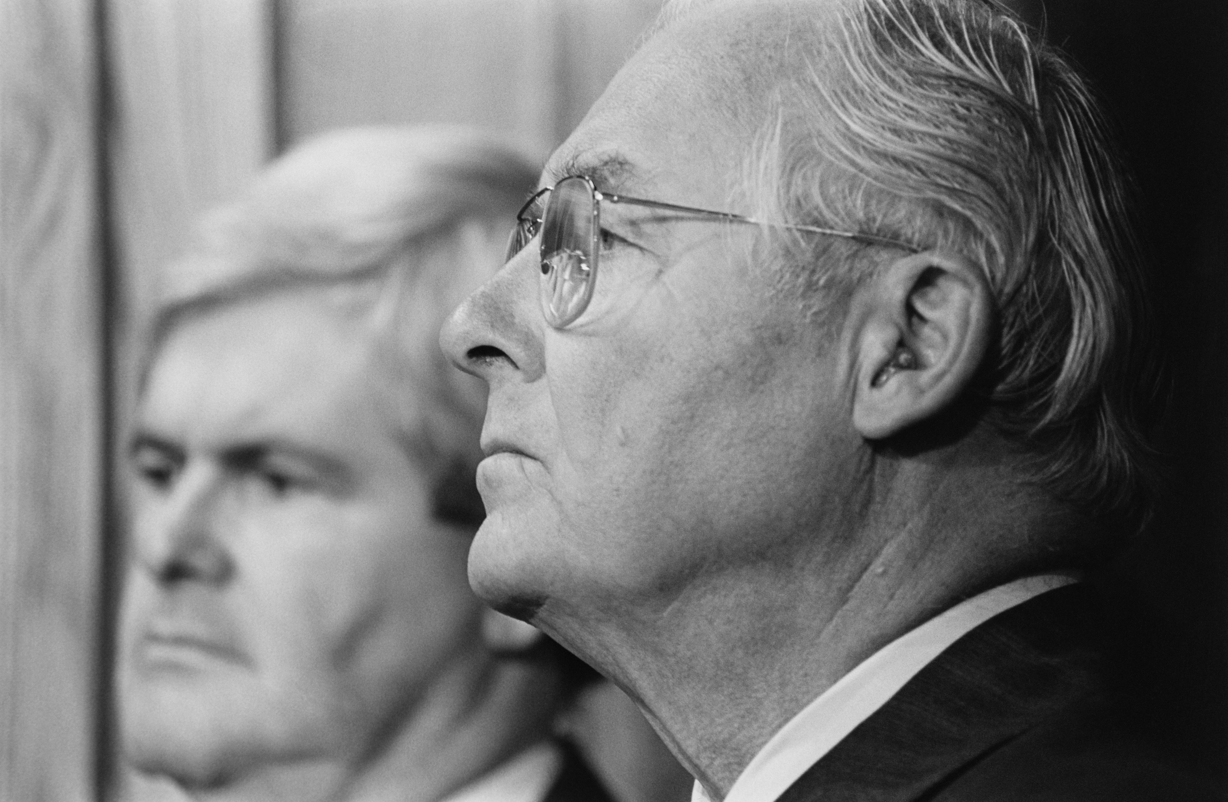 "Georgia Rep. <a class=""memberLink"" title=""Click to view member info in a new window"" href=""http://data.rollcall.com/members/659?rel=memberLink"" target=""_blank"">Newt Gingrich</a> and Michel at a press conference in October 1993 (Maureen Keating/CQ Roll Call Archive Photo)"