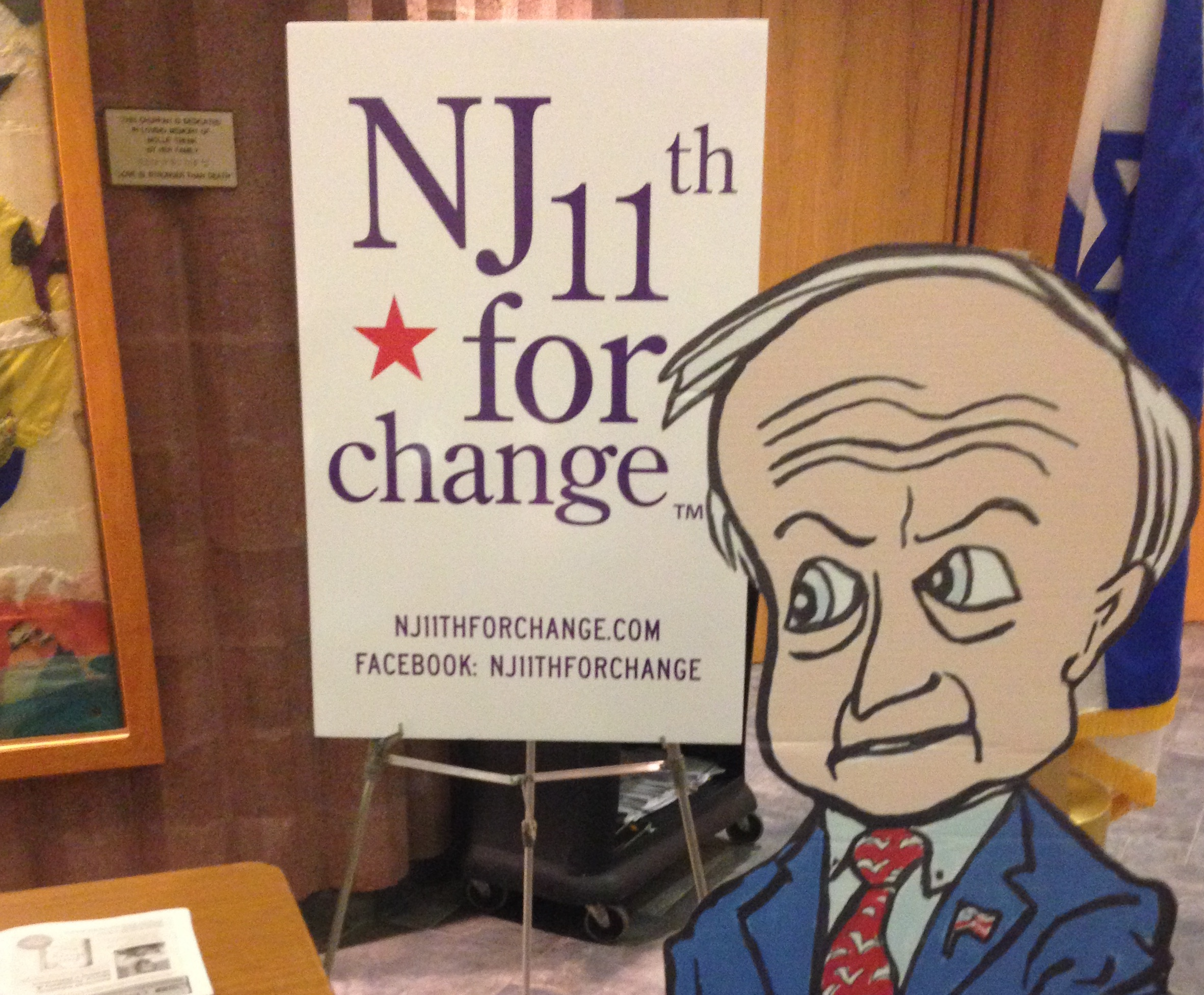 A cardboard cut out of Frelinghuysen stood in for the congressman at a town hall organized by NJ 11th for Change. (Simone Pathe/Roll Call)