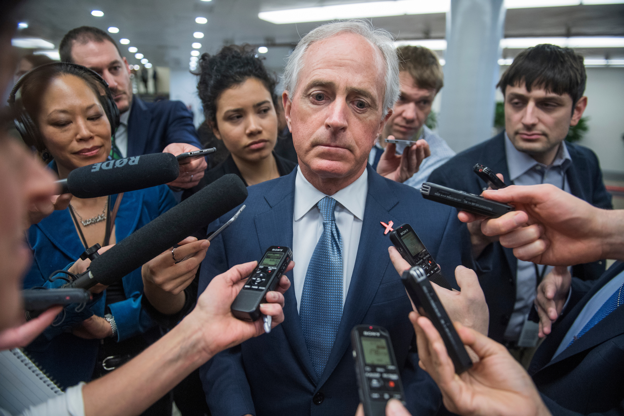 UNITED STATES - FEBRUARY 15: Sen. Bob Corker, R-Tenn., talks with reporters in the senate subway, February 15, 2017. (Photo By Tom Williams/CQ Roll Call)