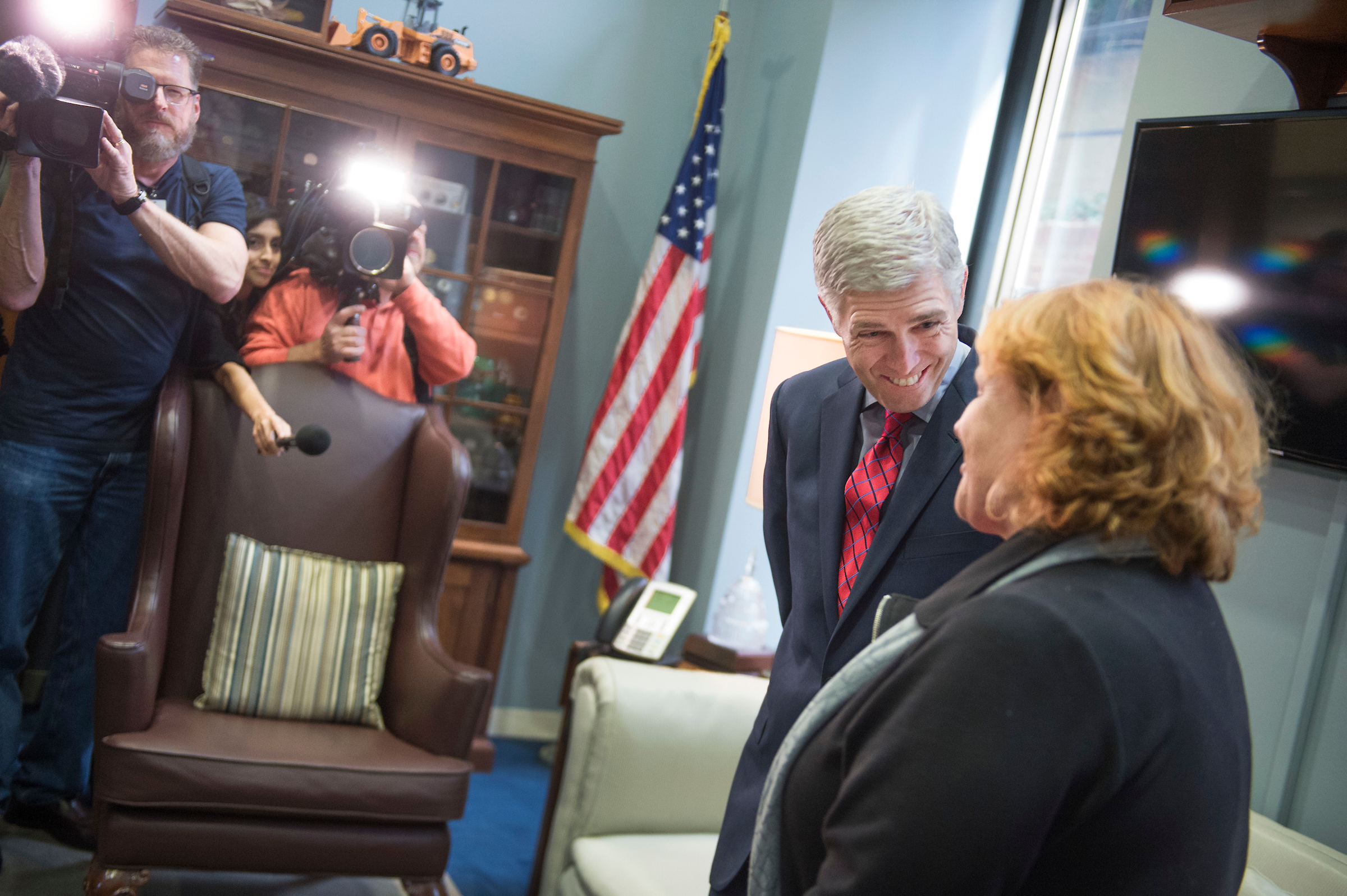 UNITED STATES - FEBRUARY 08: Neil Gorsuch, Supreme Court Justice nominee, meets with Sen. Heidi Heitkamp, D-N.D., in her Hart Building office, February 8, 2017. (Photo By Tom Williams/CQ Roll Call)