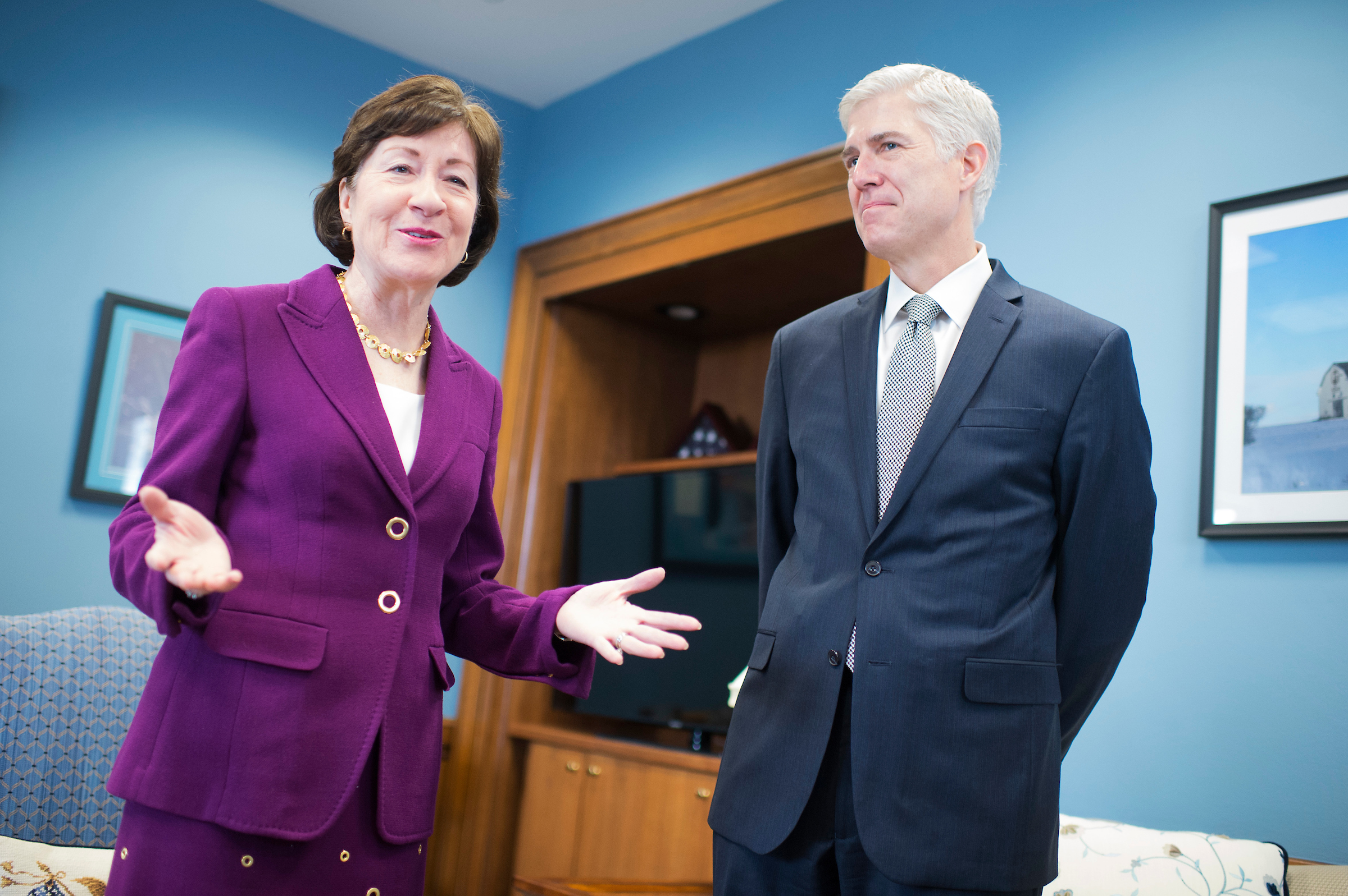 UNITED STATES - FEBRUARY 09: Neil Gorsuch, Supreme Court Justice nominee, meets with Sen. Susan Collins, R-Maine, in her Dirksen Building office, February 9, 2017. (Photo By Tom Williams/CQ Roll Call)