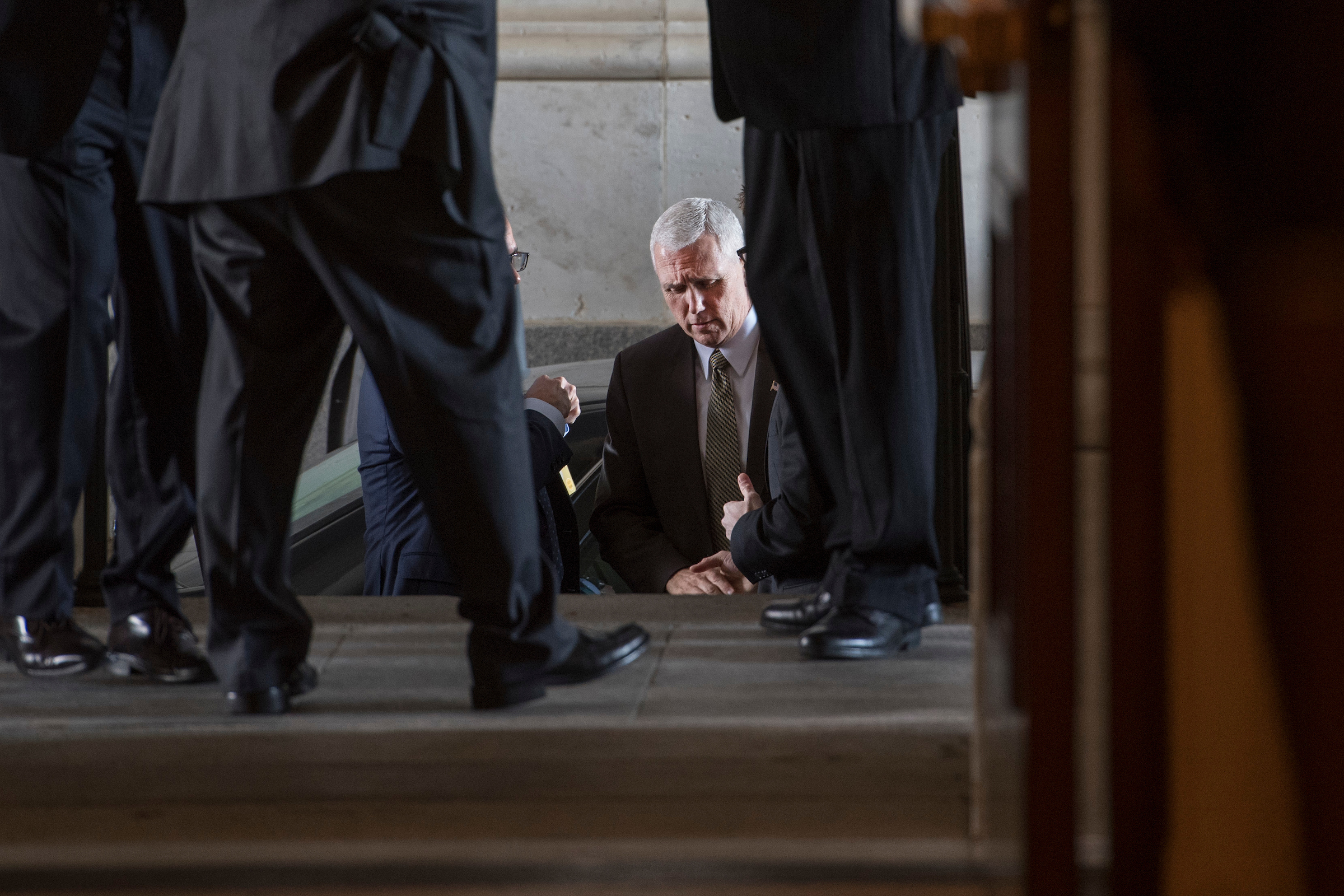UNITED STATES - FEBRUARY 08: Vice President Mike Pence arrives in the House side carriage entrance of the Capitol for a meeting, February 8, 2017. (Photo By Tom Williams/CQ Roll Call)