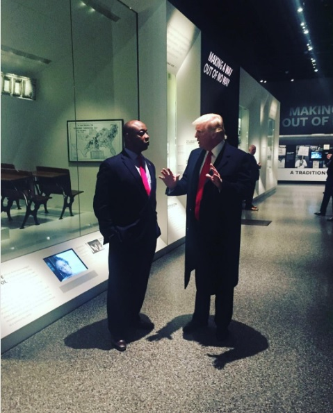 "South Carolina Sen. <a class=""memberLink"" title=""Click to view member info in a new window"" href=""http://data.rollcall.com/members/31487?rel=memberLink"" target=""_blank"">Tim Scott</a> and President Donald Trump at the National Museum of African American History and Culture on Tuesday. (Courtesy of Scott's Instagram page)"
