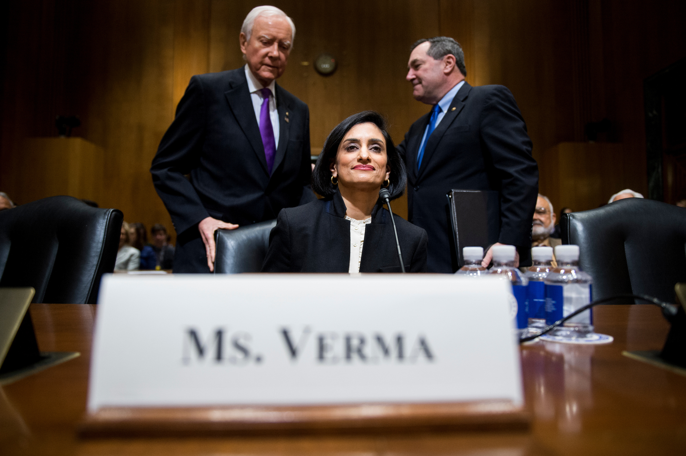 UNITED STATES - FEBRUARY 16: Chairman Sen. Orrin Hatch, R-Utah, left, and Sen. Joe Donnelly, D-Ind., seat Seema Verma, Administrator of the Centers for Medicare and Medicaid Services nominee, for her her confirmation hearing in the Senate Finance Committee on Thursday, Feb. 16, 2017. (Photo By Bill Clark/CQ Roll Call)