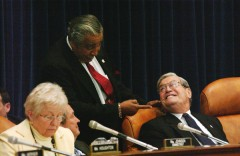 Rangel jokes with Crane during a Ways and Means markup. (Scott Ferrell/CQ Roll Call File Photo)