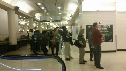 A line formed outside the post office in the basement of Union Station on tax day. (Niels Lesniewski/CQ Roll Call)