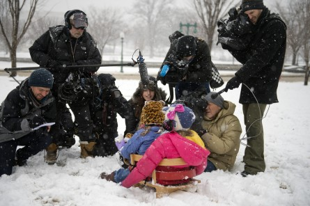 UNITED STATES - MARCH 05: Kids are interviewed by the media on the west front lawn of the Capitol during a snow storm, March 5, 2015. (Photo By Tom Williams/CQ Roll Call)