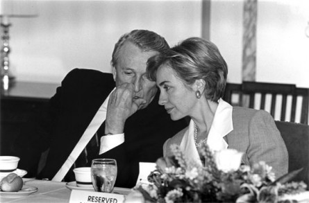 Sen. Dale Bumpers, left, has the ear of first lady Hillary Rodham Clinton at a Small Business Committee lunch in August 1993. (Chris Martin/CQ Roll Call File Photo)