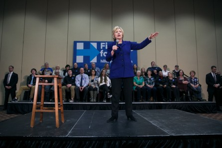 UNITED STATES - JANUARY 20 - Democratic presidential candidate Hillary Clinton speaks during an organizing event, Wednesday, Jan. 20, 2016, in Burlington, Iowa. (Photo By Al Drago/CQ Roll Call)
