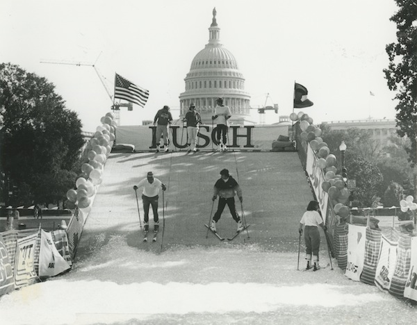 Members ski on the Hill in promotional event, 1980's.