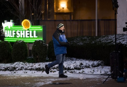 UNITED STATES - JANUARY 21: The Weather Channel's Jim Cantore broadcasts news about the impending blizzard in Washington in front of Johnny's Half Shell near the U.S. Capitol at sunrise on Thursday, Jan. 21, 2016. The DC area is bracing for blizzard conditions over the weekend. (Photo By Bill Clark/CQ Roll Call)