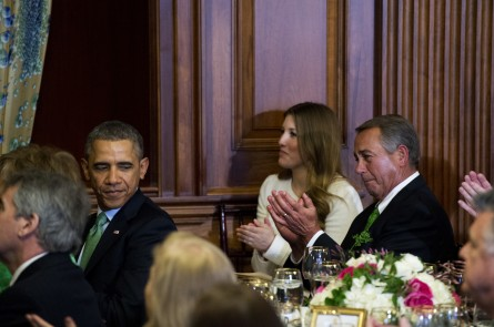 President Barack Obama and Speaker John Boehner, R-Ohio, attend the annual Friends of Ireland Luncheon the Capitol's Rayburn Room in March. (Tom Williams/CQ Roll Call File Photo)