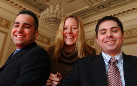 Psaki, center, in a picture taken in 2005 for Roll Call's Hill Climbers. With Shawn Hodjati, left, and Carlos Sanchez, then-staffers for Rep. Joseph Crowley. (CQ Roll Call File Photo)