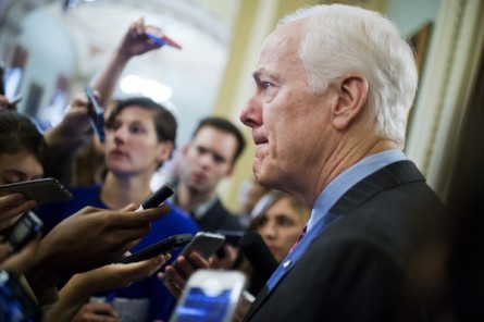 Senate Majority Whip John Cornyn, R-Texas, talks with reporters at the Capitol. (Photo By Tom Williams/CQ Roll Call)
