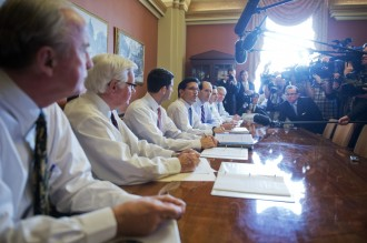 On Oct. 1, an all-male team of GOP negotiators sat across from an empty table for the cameras. From left, Rep. Rep. Rodney Frelinghuysen, R-N.J., Harold Rogers, R-Ky., Paul D. Ryan, R-Wisc., House Majority Leader Eric Cantor, R-Va., Dave Camp, R-Mich., Tom Graves, R-Ga., Ander Crenshaw, R-Fla., and John Carter, R-Texas, speak to the media in the Capitol on the continuing resolution. (Photo By Tom Williams/CQ Roll Call)