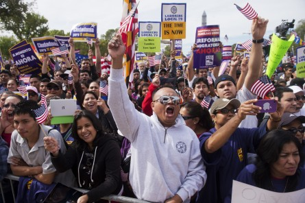 Eight House Democrats were arrested for their part in the immigration rally on Oct. 8. (Tom Williams/CQ Roll Call File Photo.)