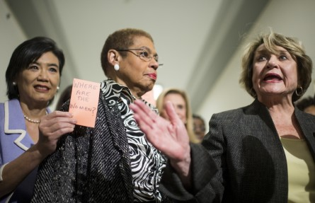 From left, Rep. Judy Chu, Del. Eleanor Holmes Norton, and Rep. Louise M. Slaughter, D-N.Y., participate in a news conference outside of the House Judiciary Committee on Wednesday to protest the House Judiciary Committee markup of legislation to restrict abortion funding. (Bill Clark/CQ Roll Call)