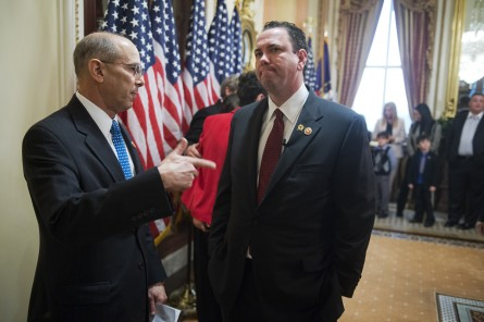 Rep. Vance McAllister, R-La., right, talking with Rep. Charles Boustany, R-La., before McAllister's swear in ceremony last November. (Tom Williams/CQ Roll Call File Photo)