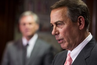 UNITED STATES - JUNE 24: Speaker of the House John Boehner, R-Ohio, speaks to the media at the Republican National Committee following the House Republican Conference meeting on Tuesday, June 24, 2014. (Photo By Bill Clark/CQ Roll Call)
