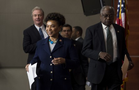 Rep. Barbara Lee, D-Calif., chair of the Poverty and Opportunity Task Force, followed from left by House Budget ranking member Rep. Chris Van Hollen, D-Md., Democratic Caucus chairman Rep. Xavier Becerra, D-Calif., and Assistant Democratic Leader Rep. James Clyburn, D-S.C., arrive for their news conference on poverty and the House Republicans' budget on Tuesday, March 19, 2013.