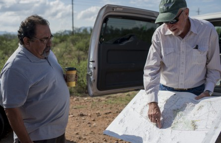 Fife, right, shows Grijalva, left, a map of the migrant trails. (Photo By Bill Clark/CQ Roll Call)