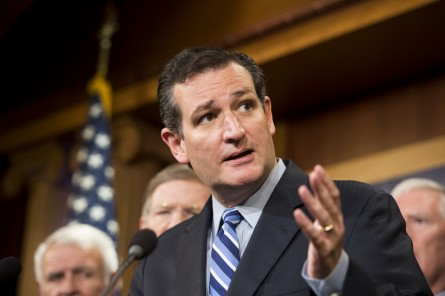 UNITED STATES - SEPTEMBER 9: Sen. Ted Cruz, R-Texas, speaks during a news conference with House and Senate members on immigration on Tuesday, Sept. 9, 2014. (Photo By Bill Clark/CQ Roll Call)