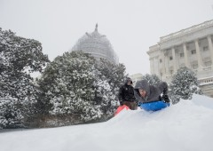 Sledders took to the slopes of the West Front of the Capitol on Saturday, as snow continued to pile up around the Washington area. (Bill Clark/CQ Roll Call)