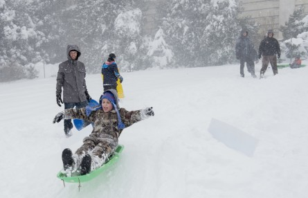 Saturday's heavy snowfall didn't deter the sledding crowds. (Bill Clark/CQ Roll Call)