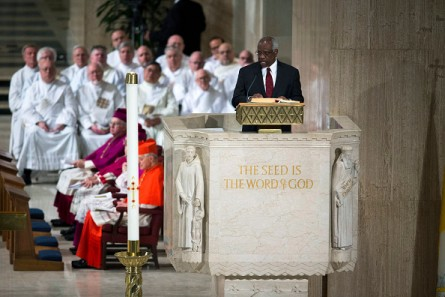 WASHINGTON, DC - FEBRUARY 20:  Justice Clarence Thomas makes a reading during the funeral Mass for Associate Justice Antonin Scalia at the Basilica of the National Shrine of the Immaculate Conception February 20, 2016 in Washington, DC.  Scalia, who died February 13 while on a hunting trip in Texas, layed in repose in the Great Hall of the Supreme Court on Friday and his funeral service will be at the basillica today.   (Photo by  Doug Mills-Pool/Getty Images)