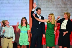 Republican vice presidential nominee Paul Ryan (C) with his wife Janna Ryan (2nd R), mother Betty Douglas (R) and children (L-R) Sam (partly hidden), Charlie and Liza  after Ryan's speech at the Tampa Bay Times Forum in Tampa, Florida, on August 29, 2012 during the Republican National Convention. AFP PHOTO / Stan HONDA        (Photo credit should read STAN HONDA/AFP/GettyImages)