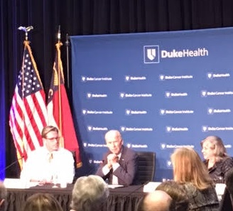 "DURHAM, N.C. -- Vice President Biden (center) speaks during a roundtable about his cancer ""moonshot"" program. (Photo by John T. Bennett/CQ Roll Call)"
