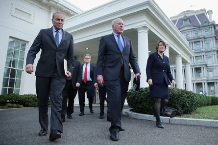 Senate Judiciary Committee members (L-R)Charles E. Schumer Ranking Member Patrick J. Leahy (D-VT) and Sen. Amy Klobuchar walk to meet reporters at the White House on Thursday. (Photo by Chip Somodevilla/Getty Images)