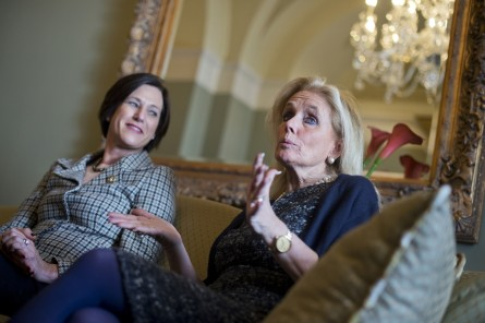 UNITED STATES - MARCH 3: Reps. Debbie Dingell, D-Mich., right, and Mimi Rogers, R-Calif., are interviewed about women in the workforce issues by CQ Roll Call in the Capitol, March 3, 2016. (Photo By Tom Williams/CQ Roll Call)