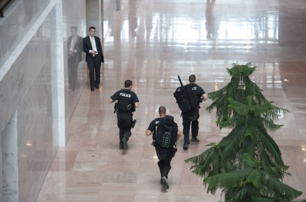 Capitol Police in the Hart Senate Office Building respond to the shooting. (Bill Clark/CQ Roll Call.)