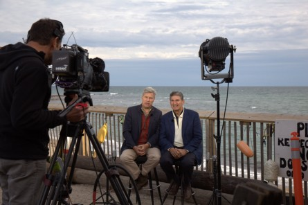 Manchin and Whitehouse are interviewed by MSNBC outside the Ocean Mist in Matunuck, R.I. (Niels Lesniewski/CQ Roll Call)