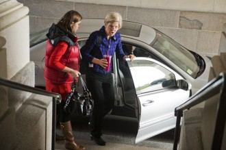 Elizabeth Warren, D-Mass., arrives at the Senate for votes Saturday. She has blasted the Cromnibus for a provision benefiting big banks.