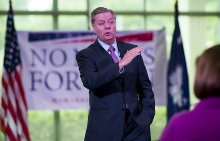 Graham holds a town hall meeting on the Iran nuclear agreement in Greenville on Monday. (Bill Clark/CQ Roll Call)
