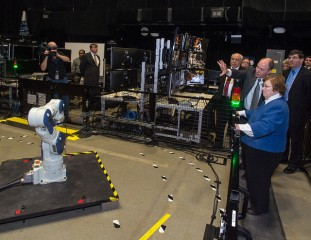 Mikulski toured the Goddard Space Flight Center before a town hall with employees. (Rebecca Roth/NASA/Goddard)
